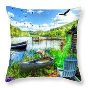 Spring Serenity At Lakeside Throw Pillow