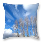 Spring Sky And Cotton Trees Throw Pillow
