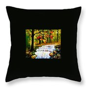 Spring Stream - Palette Knife Oil Painting On Canvas By Leonid Afremov Throw Pillow