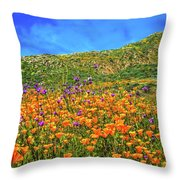 Spring Superbloom In Walker Canyon Throw Pillow