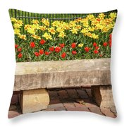 Spring Surrounds The Bench Throw Pillow