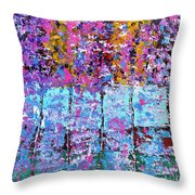 Spring Time In The Woods Abstract Oil Painting Throw Pillow