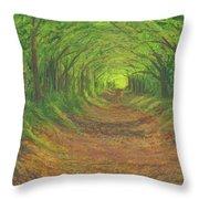 Spring Tree Tunnel Throw Pillow