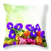 Spring Tulips And Irises Throw Pillow