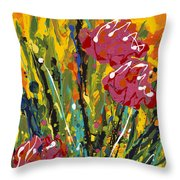 Spring Tulips Triptych Panel 2 Throw Pillow