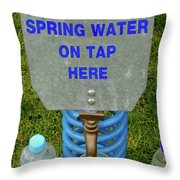 Spring Water On Tap Here Throw Pillow