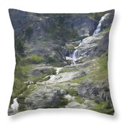 Spring Waterfall In The Tetons Throw Pillow