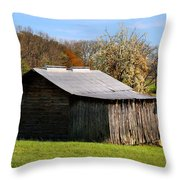 Spring Woods And Barn Throw Pillow
