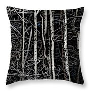 Spring Woods Simulated Woodcut Throw Pillow