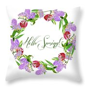 Spring Wreath Throw Pillow