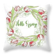 Spring  Wreath With Pink White Tulips Throw Pillow