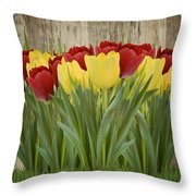 Spring Yellow And Red Tulips Throw Pillow