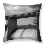 Springfield Lake Dam Grayscale Throw Pillow