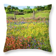 Spring's Floral Quilt Throw Pillow