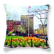 Springtime At Abingdon Square Park #2 Throw Pillow