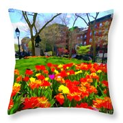 Springtime At Abingdon Square Park Throw Pillow