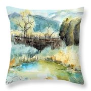 springtime at Fred Baca Park in Taos, NM Throw Pillow