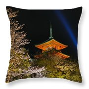 Springtime At Kiyomizu-dera Throw Pillow