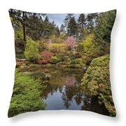 Springtime At Portland Japanese Garden Throw Pillow