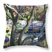 Springtime Bridge Through Japanese Maple Tree Throw Pillow by Carol Groenen