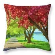 Springtime In The Park Throw Pillow
