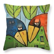 Springtime Lovebirds Throw Pillow