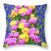 Springtime Tulips 01 Painterly Effecy Throw Pillow