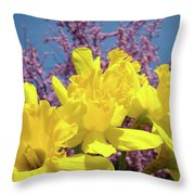 Springtime Yellow Daffodils Art Print Pink Blossoms Blue Sky Baslee Troutman Throw Pillow