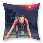 Sprinter Woman On The Start Throw Pillow