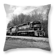 Sprintime Train In Black And White Throw Pillow by Rick Morgan