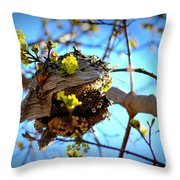 Sprouting Wasp Net Throw Pillow