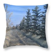 Spruce Trees Along A Snowy Road  Throw Pillow