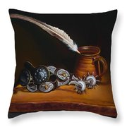 Spurs And Hand Made Pottery And Feather Throw Pillow