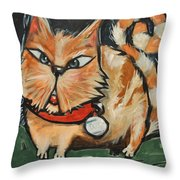 Square Cat Two Throw Pillow