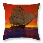 Square-rigged Ship At Sunset Throw Pillow