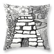 Square Rock Fairy House And Squirrel Throw Pillow