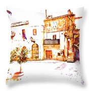 Square View With Clock Tower Throw Pillow