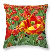 Square Yellow And Red Tulips Throw Pillow