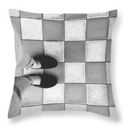 Squares And Feet Throw Pillow