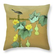 Squash Vine And Bamboo Throw Pillow