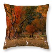 Squaw Creek Egrets Throw Pillow