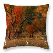 Squaw Creek Egrets Throw Pillow