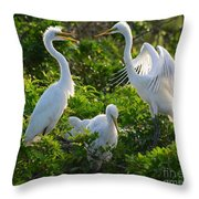 Squawk Of The Great Egret Throw Pillow