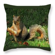 Squirrel Eating Pizza Throw Pillow