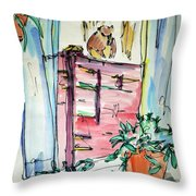 Squirrel On Fence Throw Pillow