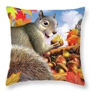 Squirrel Treasure Throw Pillow