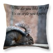 Squirrel With Fur Collar Throw Pillow