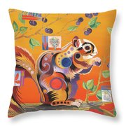 Squirrelling Away Throw Pillow