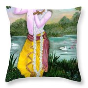 The Divine Flute Player, Sri Krishna Throw Pillow