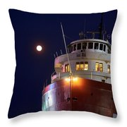 Ss William A Irvin At Night Throw Pillow